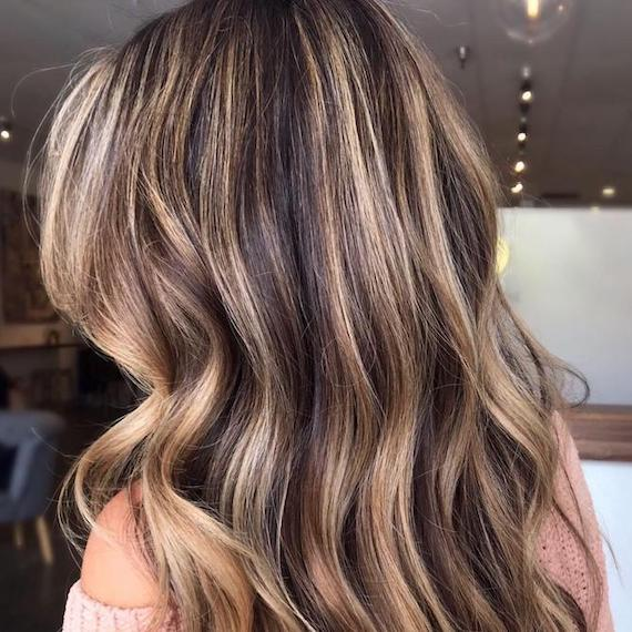 Photo of the back of a woman's head showing blonde hair with brown lowlights, created using Wella Professionals