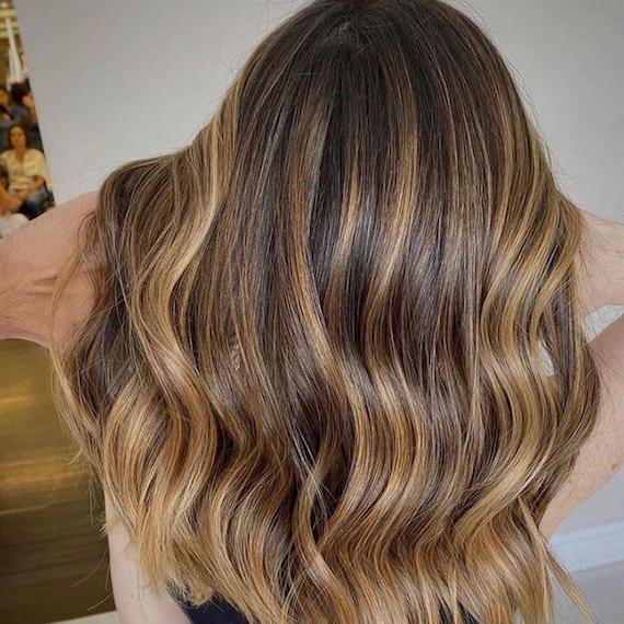 Back of woman's head with honey bronde twilighting, created using Wella Professionals.