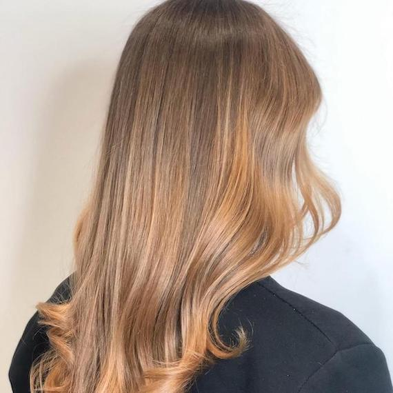 Back of woman's head with honey blonde sombre, created using Wella Professionals.