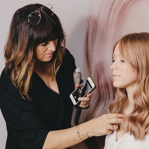 Wella Professionals Passionista Lourdes Crego with a client.