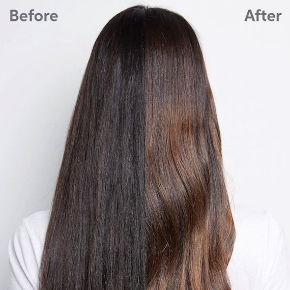 Photo of the back of a woman's head before and after a Wella Professionals color correction.