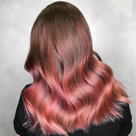 Back of woman's head showing long, brown hair with pink tones through the ends, created using Wella Professionals