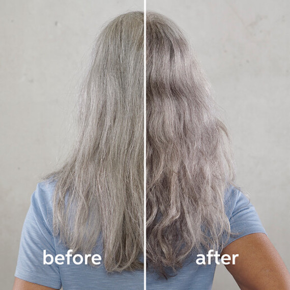 Back of woman's head showing a 'before and after' of the Silver Glow by True Grey treatment.