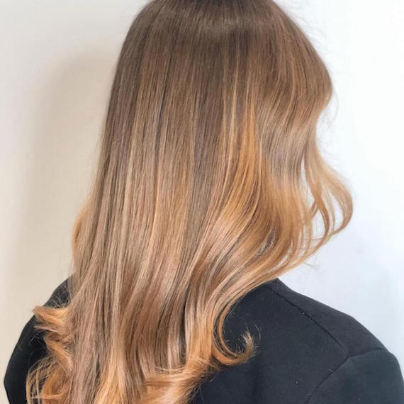 Back of woman's head with light brown/dark blonde sombre hair, created using Wella Professionals.