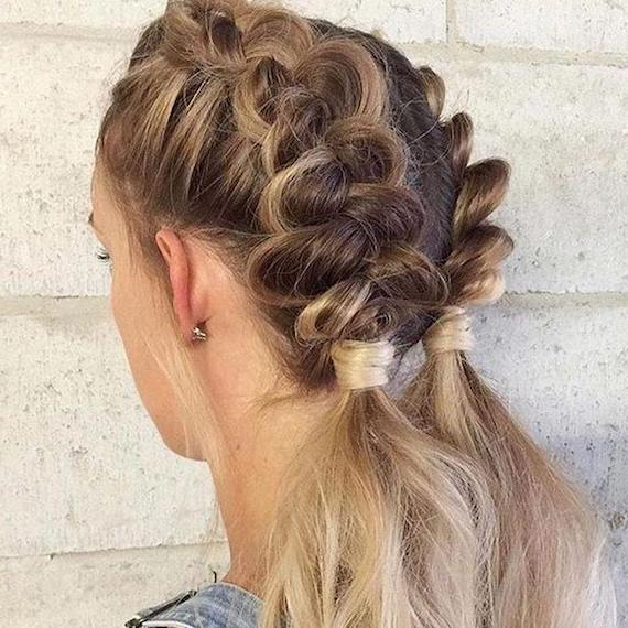 Back of a woman's head showing blonde hair in braided bunches, styled using Wella Professionals