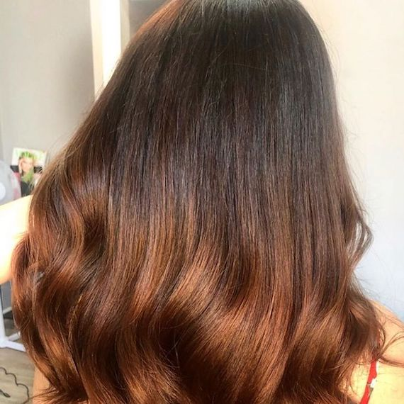 Photo of the back of a woman's hair with copper brown balayage color. Look created by Wella Professionals.