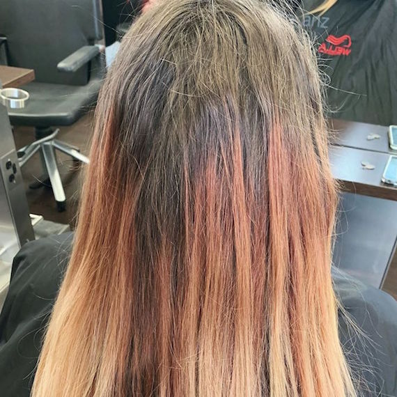 Back of woman's head with long gray roots and peach mid-lengths.