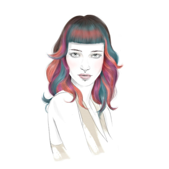 Wella Professionals illustrations showing women with wavy mermaid hair