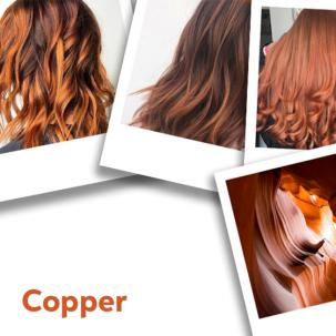 Collage of copper red hair colours.