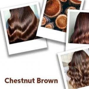 collage of images of models with long, brown hair and  photo of chestnuts