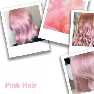 Polaroids of women with pastel pink hair