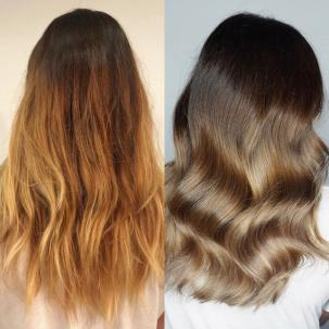 Before and after of brassy hair transformation, created using Wella Professionals.