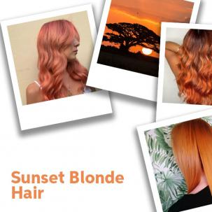 Collage of sunset blonde hair, created using Wella Professionals