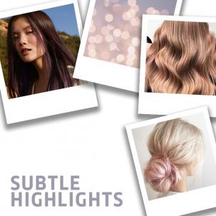 Collage of subtle highlights hair looks, created using Wella Professionals.