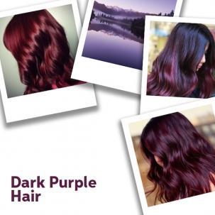 Collage of dark purple hair looks, created using Wella Professionals.