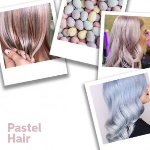 Collage of pastel images and pastel hair