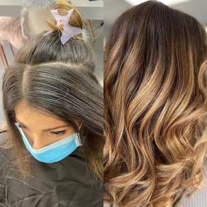'Before' photo of hair with gray roots and 'after' photo of wavy hair with caramel balayage.