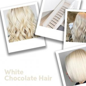 White chocolate hair color, created using Wella Professionals