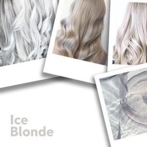 Women with ice blonde hair and a block of ice