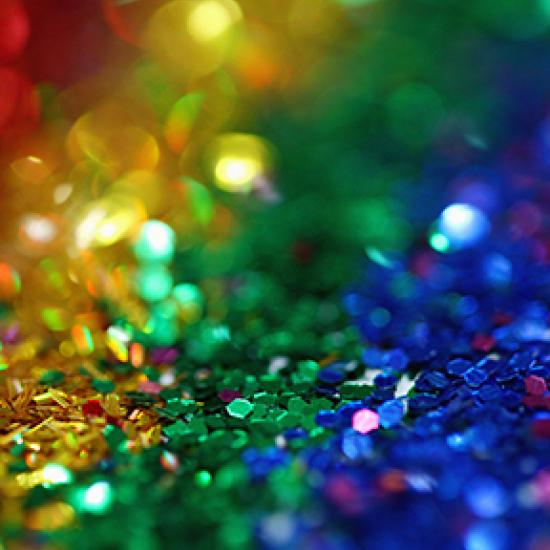 close up of glitter in rainbow colors