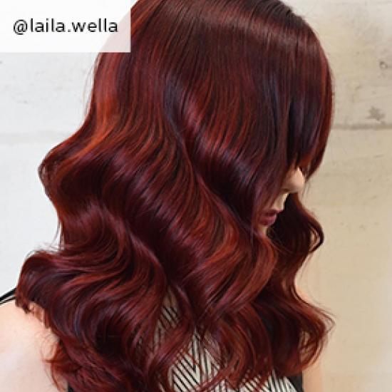 Mulled wine hair, created using Wella Professionals