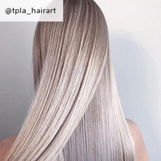 Straight ash blonde hair, created using Wella Professionals
