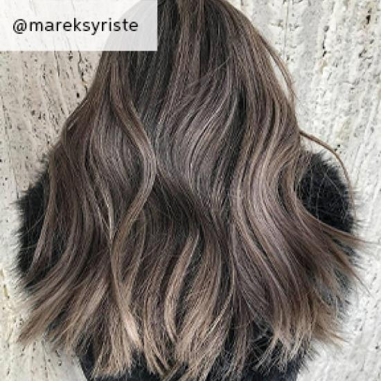 Ash brown balayage hair, created using Wella Professionals