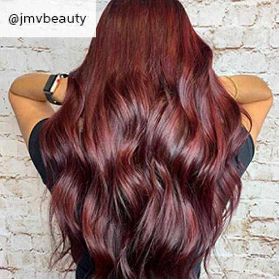 Image of black cherry hair, created using Wella professionals