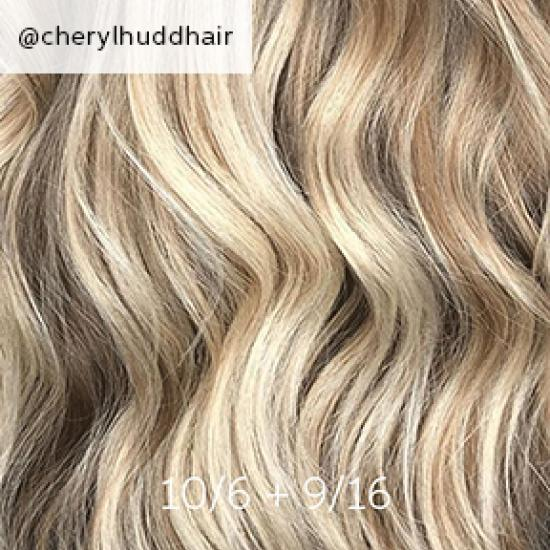 Wavy hair with baby highlights, created using Wella Professionals