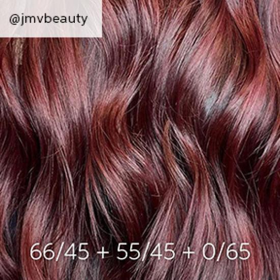 close up of burgundy hair