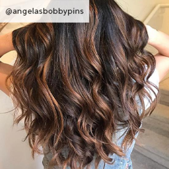 back of woman's head with chestnut brown hair and caramel highlights