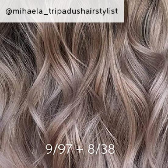 Close-up of dark ash blonde hair, created using Wella Pro-fessionas.