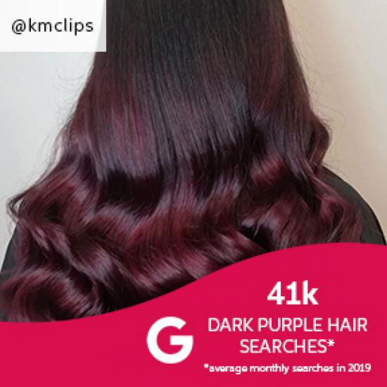 Photo of the back of woman's head with long hair and dark purple balayage, created using Wella Professionals.