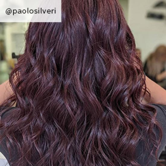 Back of woman's head with long, wavy, dark purple hair, created using Wella Professionals.