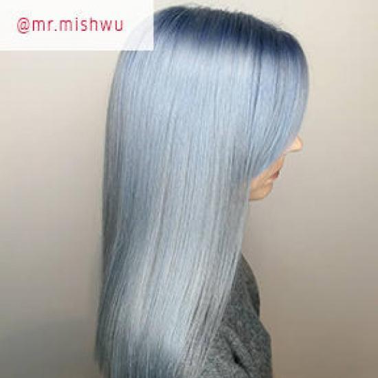 Woman with denim blue hair