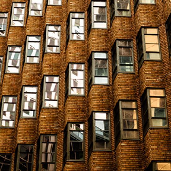 Golden brown brick building.