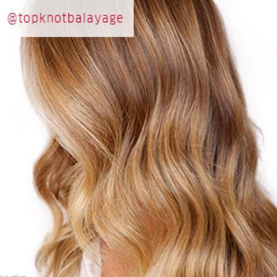 Side profile of woman with long, honey blonde hair, cre-ated using Wella Profession-als.