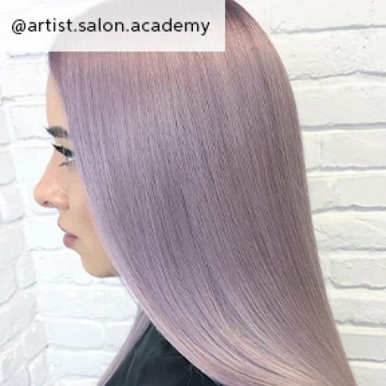 Side profile of woman with long, straight lilac hair, created using Wella Professionals.