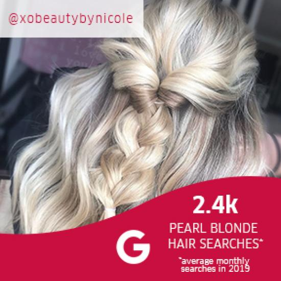 Close up image of woman with pearl blonde hair in a plait