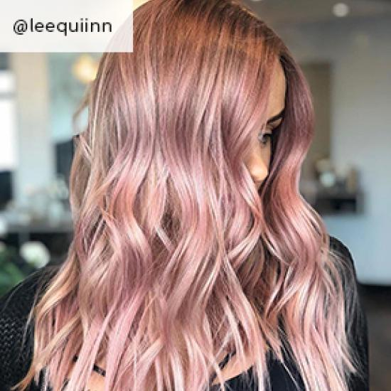 Powder rose hair, created using Wella Professionals