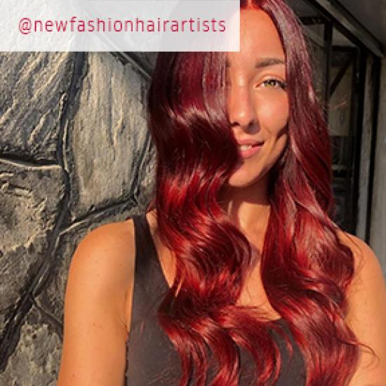 Woman with red velvet hair, created using Wella Professionals