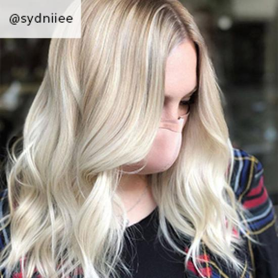 Image of rooted baby blonde hair, created using Wella Professionals