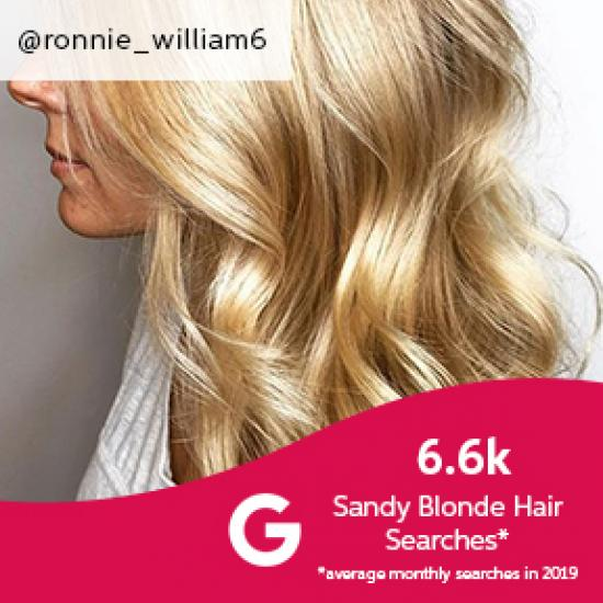 Side profile of woman with curled sandy blonde hair, created using Wella Professionals.