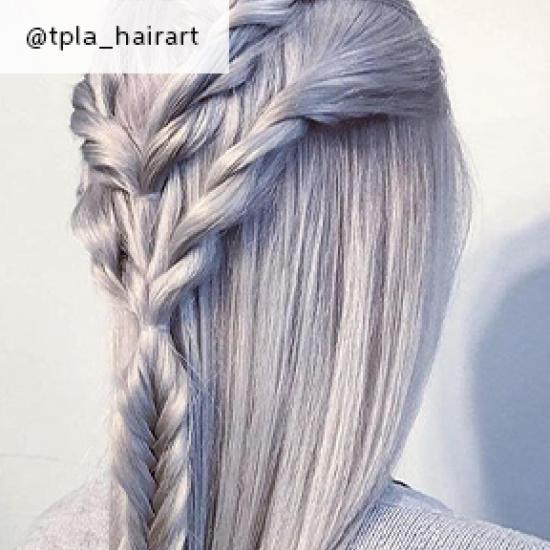 Silver hair in a plait