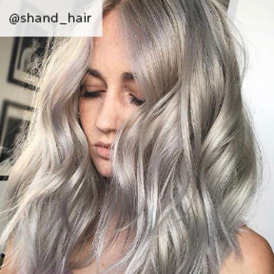 Curled silver hair