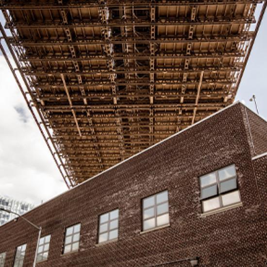 Brown building.