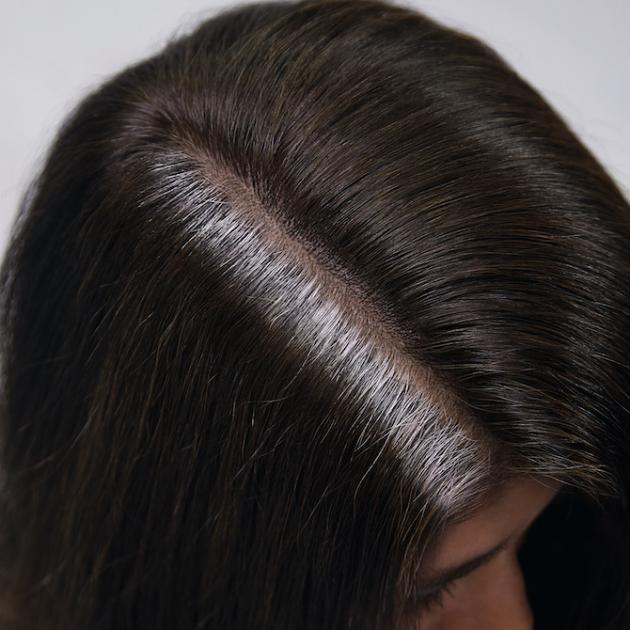 Top of woman's head with brunette hair and stubborn gray roots.