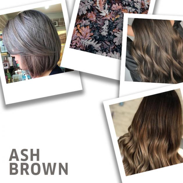 Collage of ash brown hair color ideas by Wella Professionals.