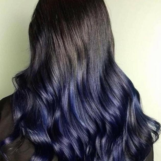 Long, wavy, blue black hair, created using Wella Professionals
