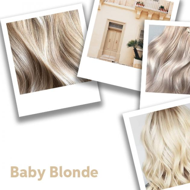 Polaroid photo collage of baby blonde hair ideas, styled with loose waves